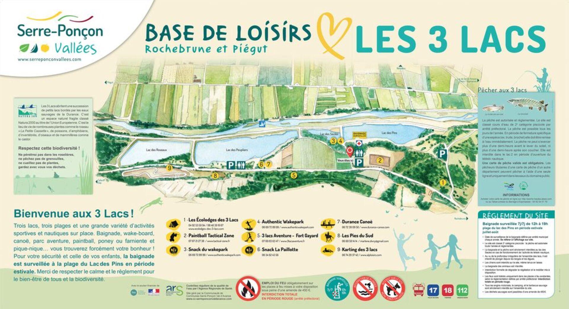Plan de la Base de Loisirs Les 3 Lacs